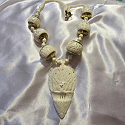 Fabulous Peacock Hand Carved Vintage Bone Necklace