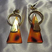 Tortoise Shell Lucite and Gold Tone Mod Retro Dangle Vintage Pierced Earrings