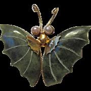 Vintage Genuine Jade Butterfly Brooch Pin