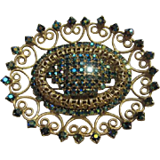 Stunning AB Blue Green Sparkling Ornate Gold Tone Vintage Brooch Pin