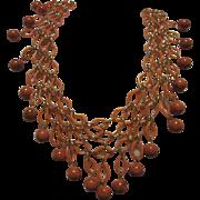 Gorgeous Coral Celluloid Cleopatra Style Vintage Bib Necklace