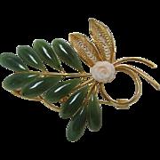 Vintage Swoboda Jade and Coral Brooch Pin