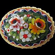 Gorgeous Vintage Mosaic Pin Italy.
