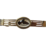 Vintage Anson Art Deco Reversed Painted Horse under Crystal Tie Clip