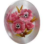 Beautiful Vintage Reverse Carved Painted Pink Flowers Lucite Brooch Pin