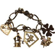 Fun 1950's Vintage Charm Bracelet Five Large Charms Signed Monet Scotty Dog Wishing Well Four Leaf Clover