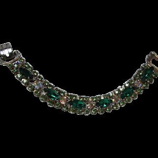 Vintage Emerald Green Marquise AB Crystal Rhinestone Bracelet