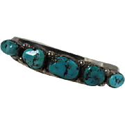 Native American Southwest Turquoise Sterling Silver Vintage Cuff Bracelet Signed