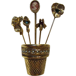 Goldette Stick Pins in Thimble Vintage Brooch Pin Cameo Pansy Snake Bee Rose