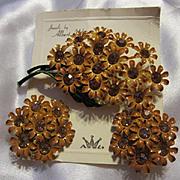 Weiss Enamel Flower Rhinestone Flower Pin and Earrings on Original Card 1960s Vintage Signed