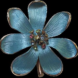 Gorgeous Blue Enamel with Multi Color Rhinestone Piston Vintage Brooch Pin