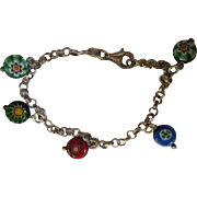Colorful Millefiori Sterling Silver Vintage Rolo Chain Italy Murano Bracelet