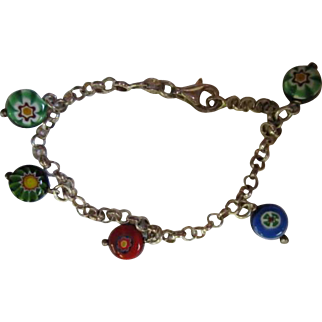 Colorful Millefiori Sterling Silver Vintage Rolo Chain Italy Murano Bracelet