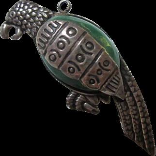 Fabulous Taxco Sterling Silver Jade Parrot Brooch Pin Pendant