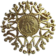 SALE! Anne Klein Monarch Crown Statement Matte Gold tone Vintage Brooch Pin