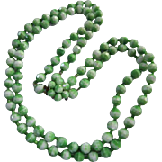 Gorgeous West Germany Key Lime Green White Glass Faceted Beads Double Strand Flower Clasp Vintage Necklace