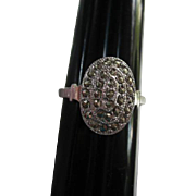 Art Deco Theda Signed Marcasite Sterling Silver Vintage Ring Size 9 and a half