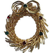 Fabulous Hand Wired Vintage Christmas Wreath Brooch Pin Green Red Rhinestones