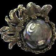 Fabulous Gray Baroque Pearl Vintage Brooch Pin