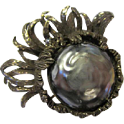 Fabulous Gray Baroque Pearl Vintage Brooch Pin
