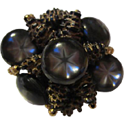 Unique Star Moonstone Black Gold Pine Cone Stone Hand Wired Vintage Brooch Pin
