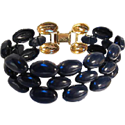 Napier signed Navy Blue Enamel Three Row Vintage Bracelet