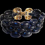 Napier signed Navy Blue Enamel Three Row Vintage Bracelet