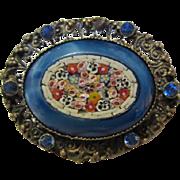 Fabulous Czech Micro Mosaic Flower Vintage Brooch Pin