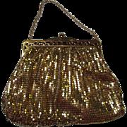 Vintage Whiting and Davis Art Deco Gold Mesh Evening Bag