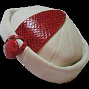 Fabulous Christian Dior Chapeaux Paris New York White Red Couture Vintage Hat