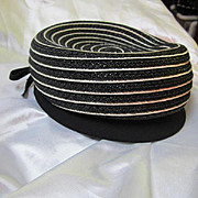 Reggi W Wilshire Pill Box Vintage 1940's Black and White Hat with side Bow