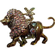 Kirks Folly Fairy Riding Lion Sparkling AB Swarovski Crystals Gold tone Brooch Pin