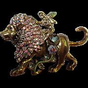 Kirks Folly Fairy Riding Lion Sparkling AB Swarovski Crystals Gold tone Brooch Pin