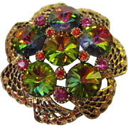 Magnificent Watermelon Rivoli Inverted Rhinestone Lacey Open Work Vintage Brooch Pin