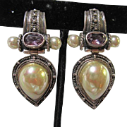 Stunning Large Signed Sterling Silver Amethyst Majorica Mabe Pearl Clip Earrings