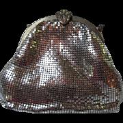 Whiting and Davis Art Deco Silver Mesh Ornate Rhinestone Clasp Evening Bag