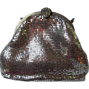 Whiting and Davis Art Deco Silver Mesh Ornate Rhinestone Clasp Evening Bag