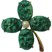 Gorgeous Vintage Peking Glass Four Leaf Clover or Shamrock Brooch Pin