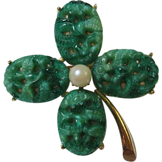 Gorgeous Vintage Peking Glass Four Leaf Clover or Shamrock Brooch Pin