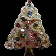 Sparkling Rivoli Margarita Crystal Vintage Christmas Tree Pin Brooch Pin