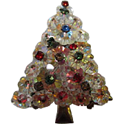 Sparkling Rivoli Margarita Crystal Vintage Christmas Tree Pin Brooch Pin