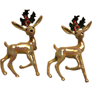 Fabulous Vintage Enamel Reindeer Set of Pins Signed Gerrys