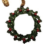 Vintage Enamel Holly Christmas Wreath Pendant on Gold tone Chain
