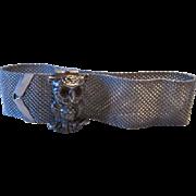 Vintage Sarah Coventry Owl Mesh Silver tone Bracelet Ruby Rhinestone Eyes Signed