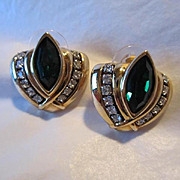 Stunning Swarovski Emerald Green Vintage Earrings Signed SAL