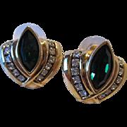 Stunning Swarovski Emerald Green Vintage Earrings Signed SAL
