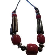 Fabulous Bone and Red Tribal Hand Made Vintage Necklace
