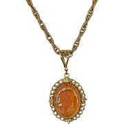 Whiting and Davis Amber Glass Intaglio Cameo Pendant Rare Statement Vintage Necklace