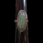 Fabulous Huge Jade Marcasite Sterling Silver Art Deco Era Vintage Ring