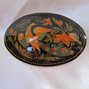 Beautiful Signed Fedoskino Russian Lacquer Bird of Paradise Hand Painted Vintage Brooch Pin